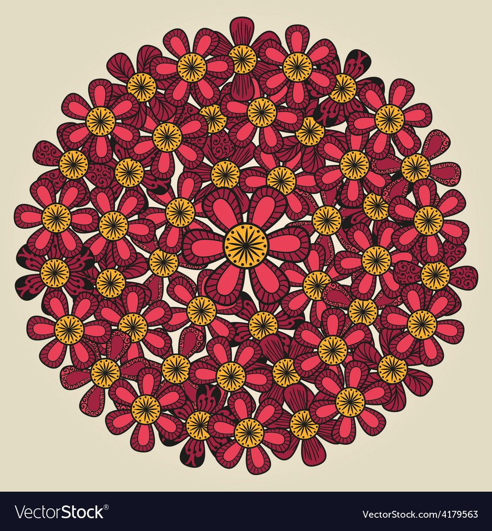 Round floral ornament like bouquet of red flowers vector image izmirmasajfo