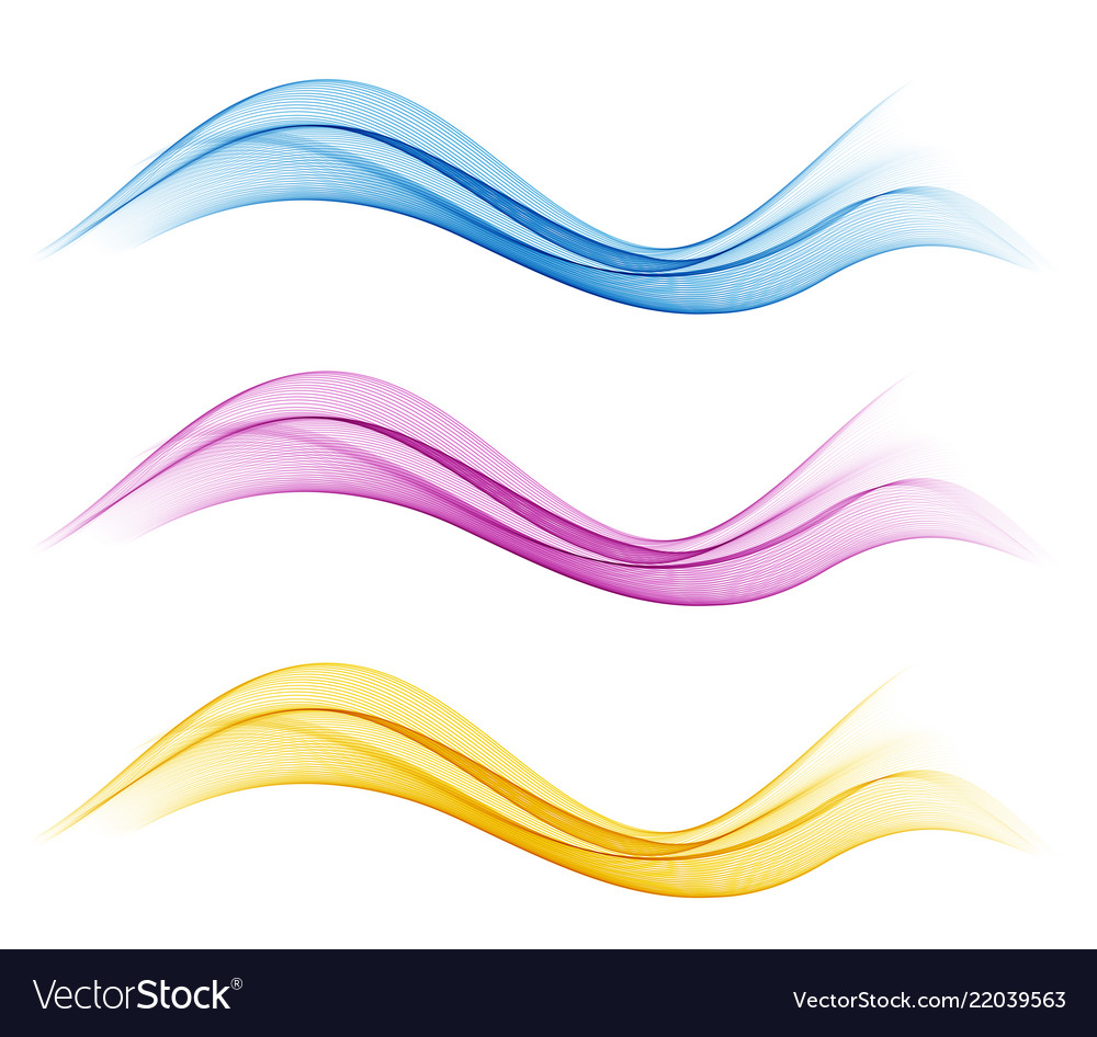 Set of abstract flow transparent color wave