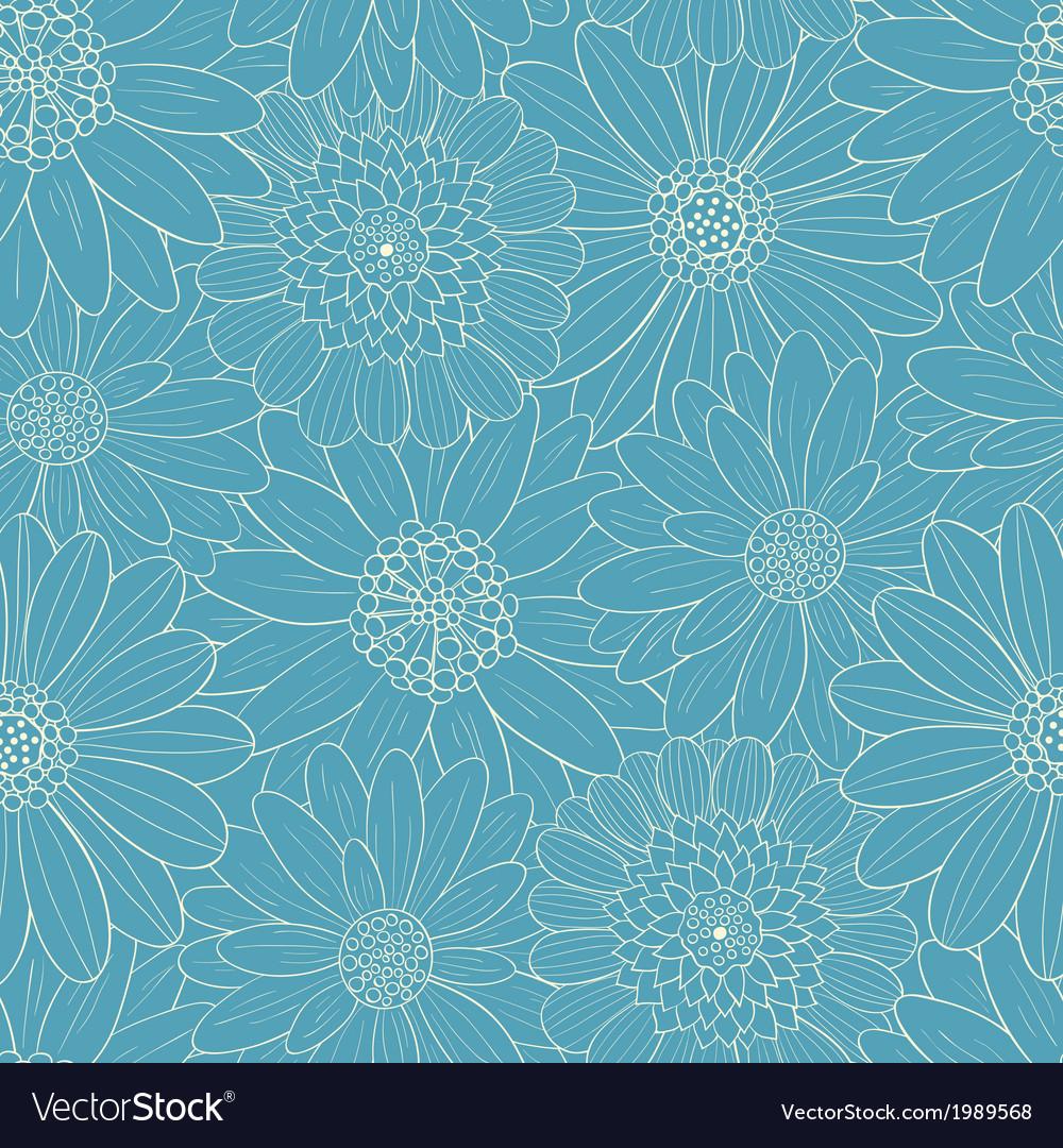 Beautiful line blue flowers vector image