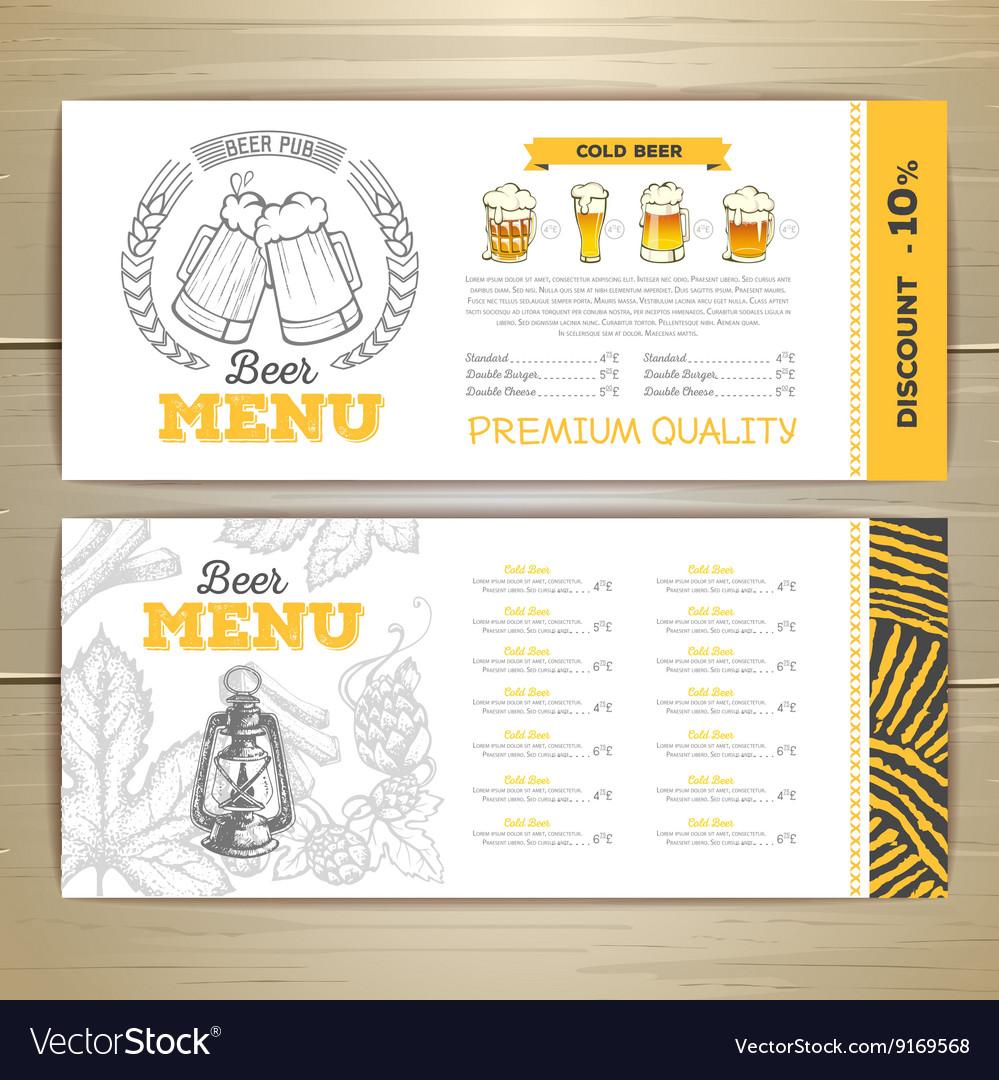 Beer bar menu design