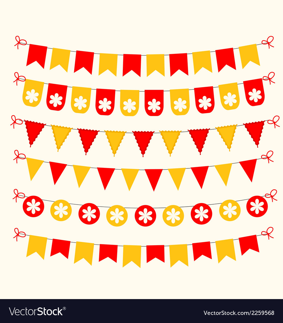 Bunting set red and yellow scrapbook design