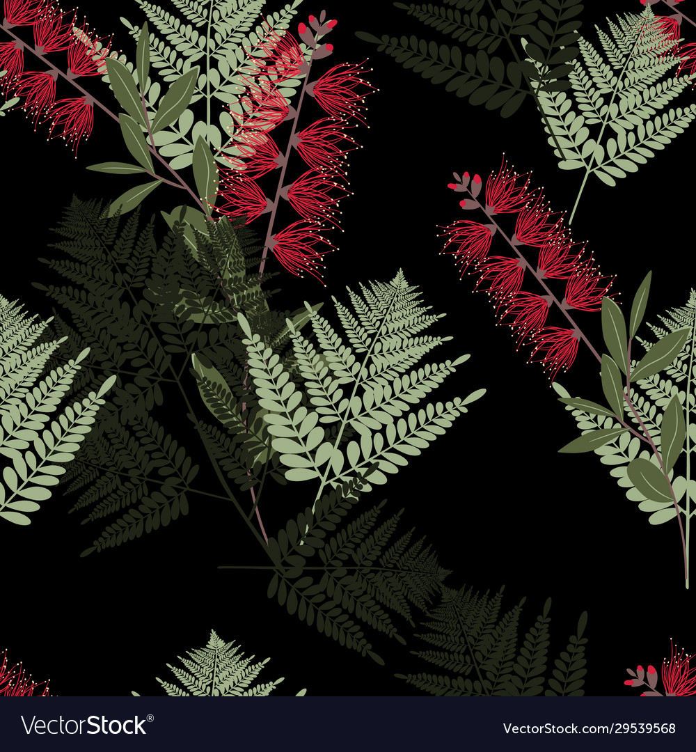 Fern tropical leaves and exotic flower pattern