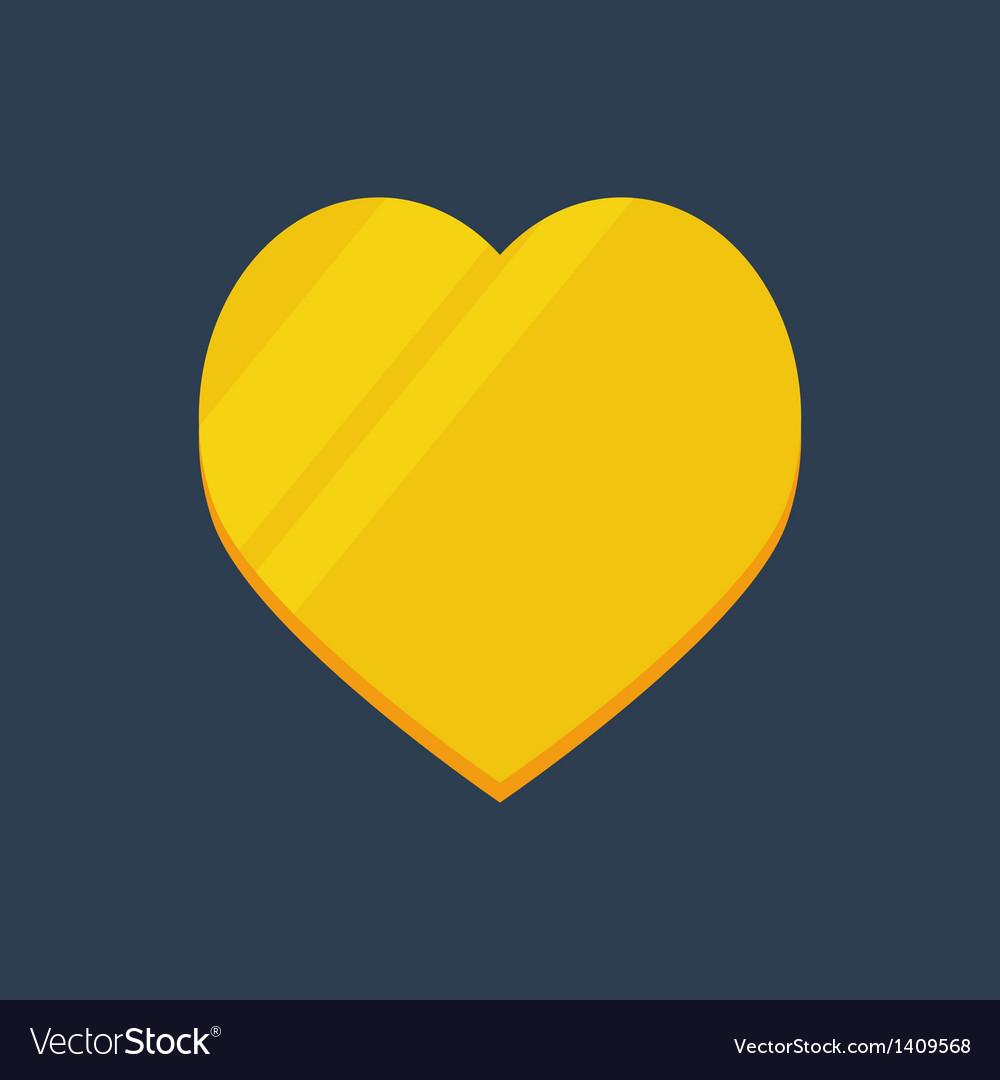 Gold flat heart