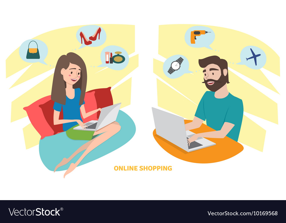 Happy woman and happy man doing online shopping at