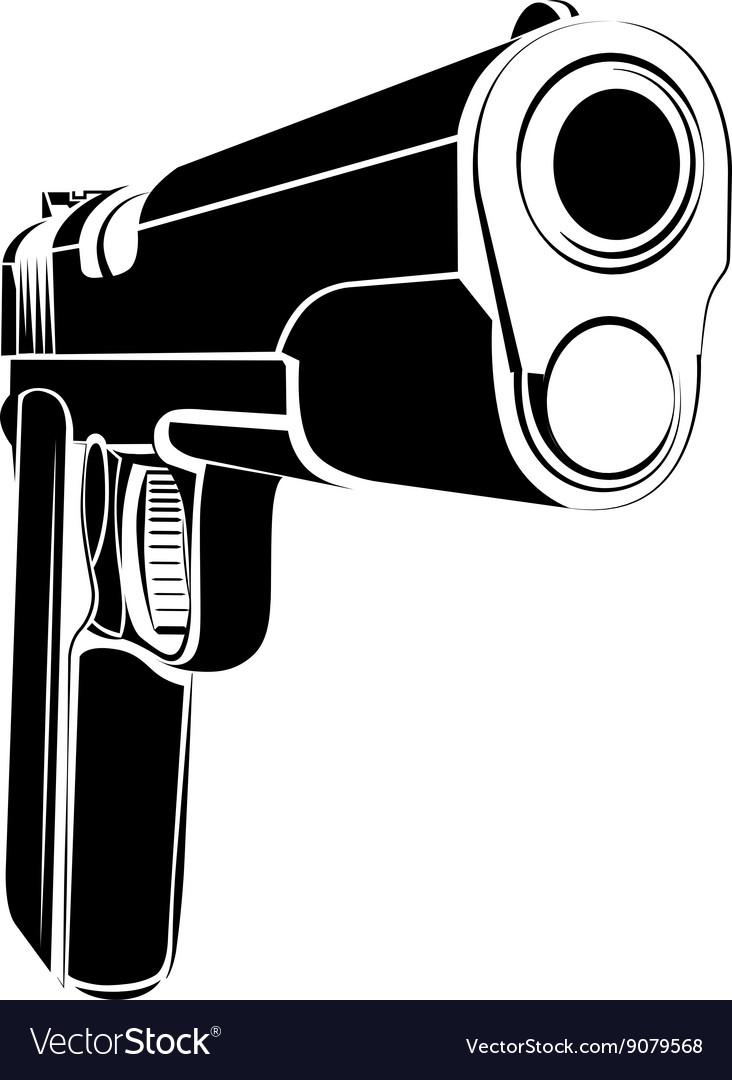pistol 1911 gun fire 45 caliber royalty free vector image vectorstock