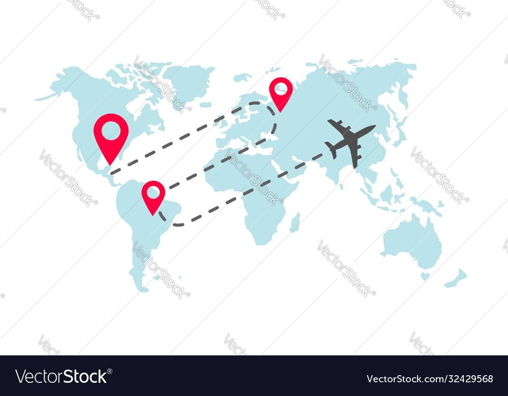 Plane global world map flight way path trace