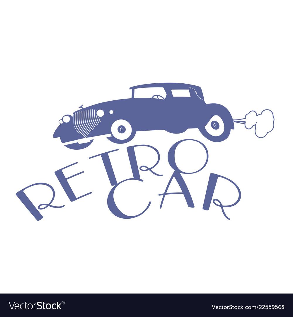 Retro style emblem representing a typical car