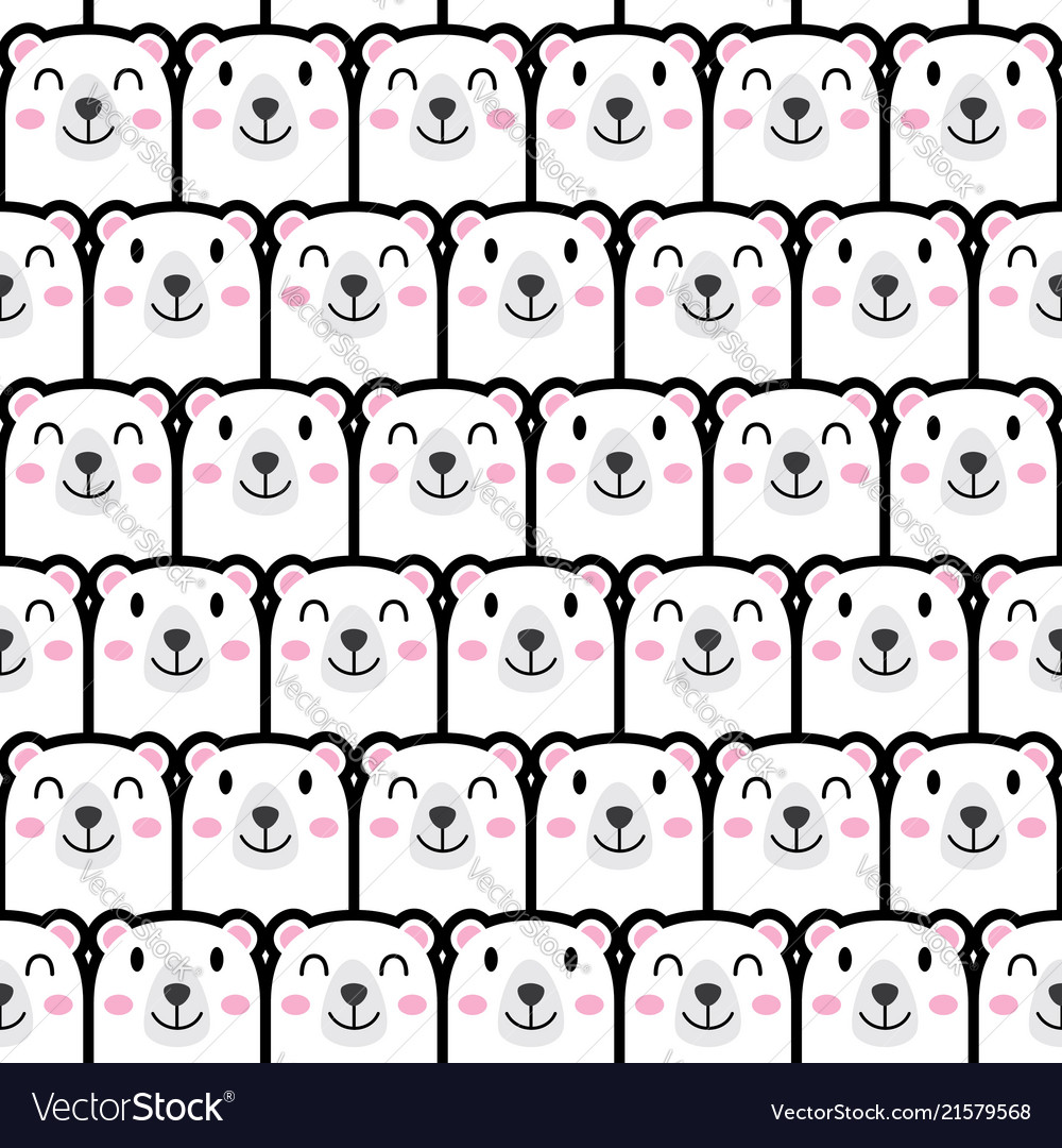 Seamless cute bear pattern