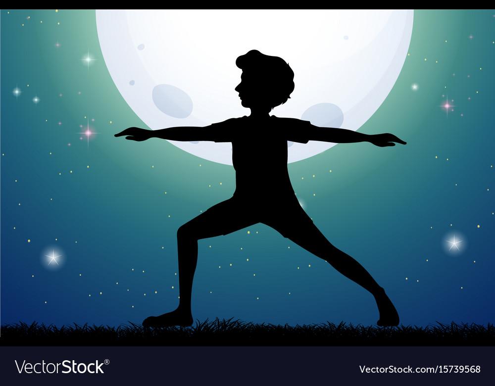 Silhouette man doing yoga on fullmoon night