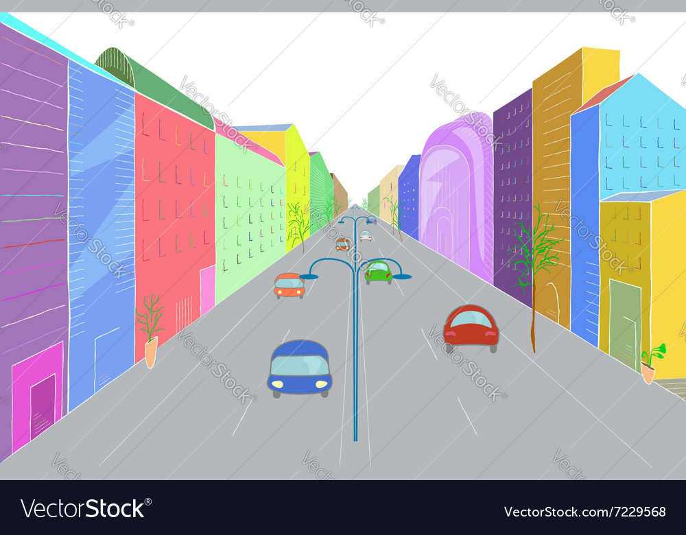 Urban landscape in flat design style vector image