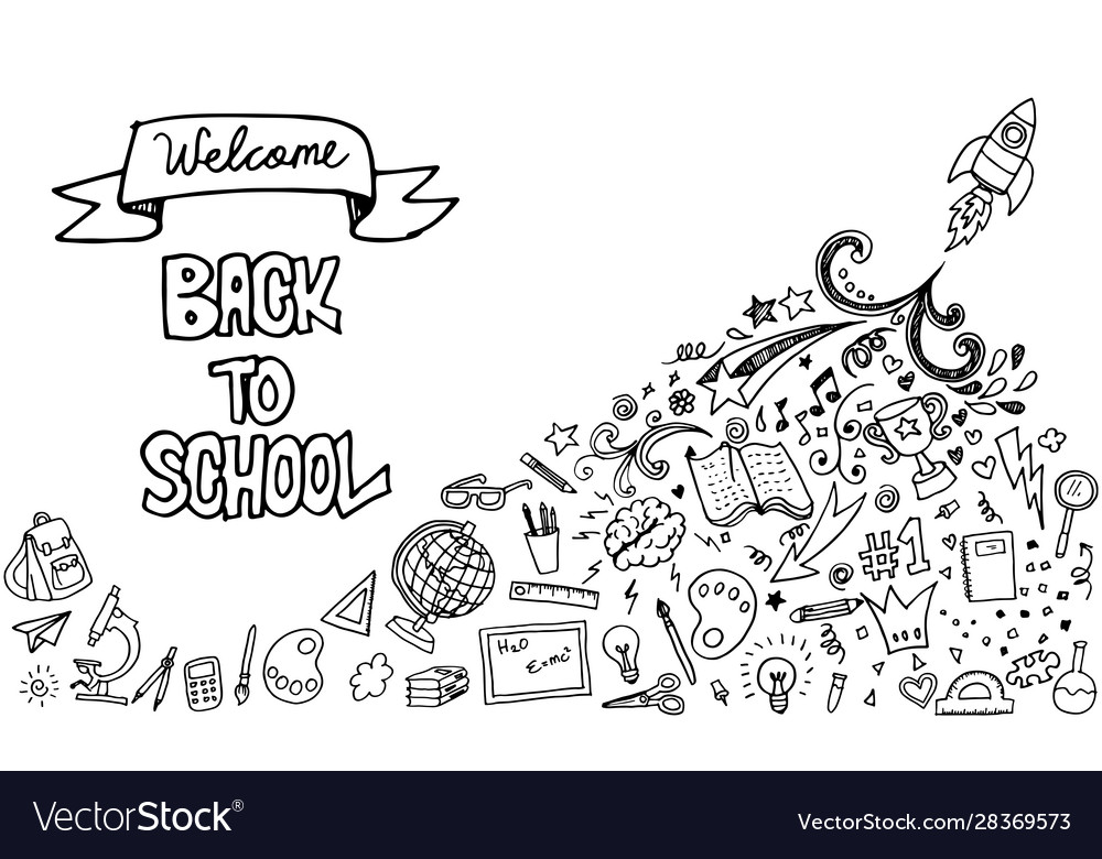 Back to school banner with hand drawn line art