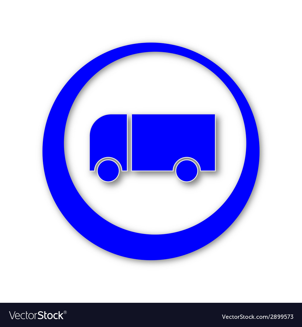 Blue truck icon with shadows vector image