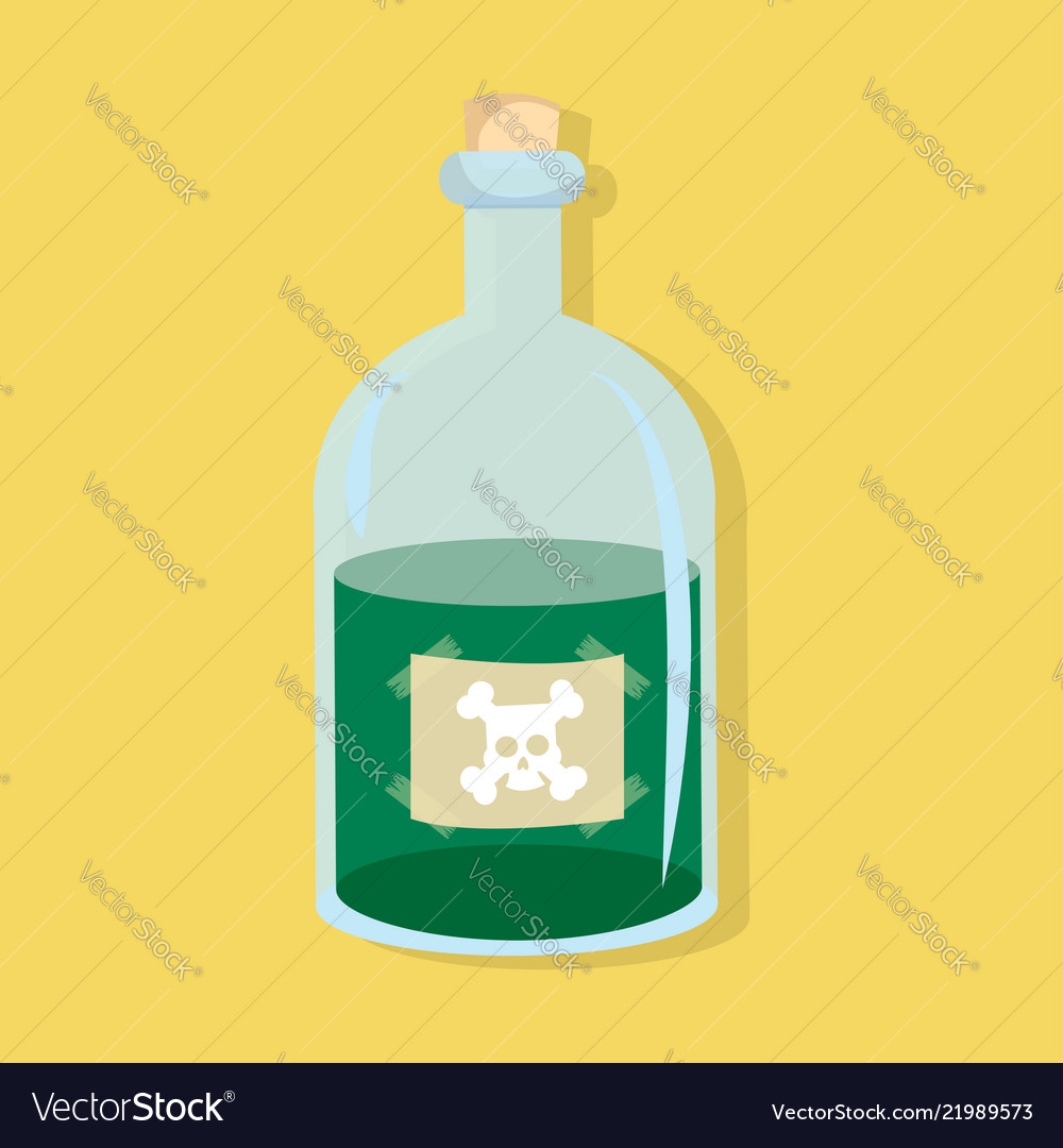 Bottle of poison green flat style