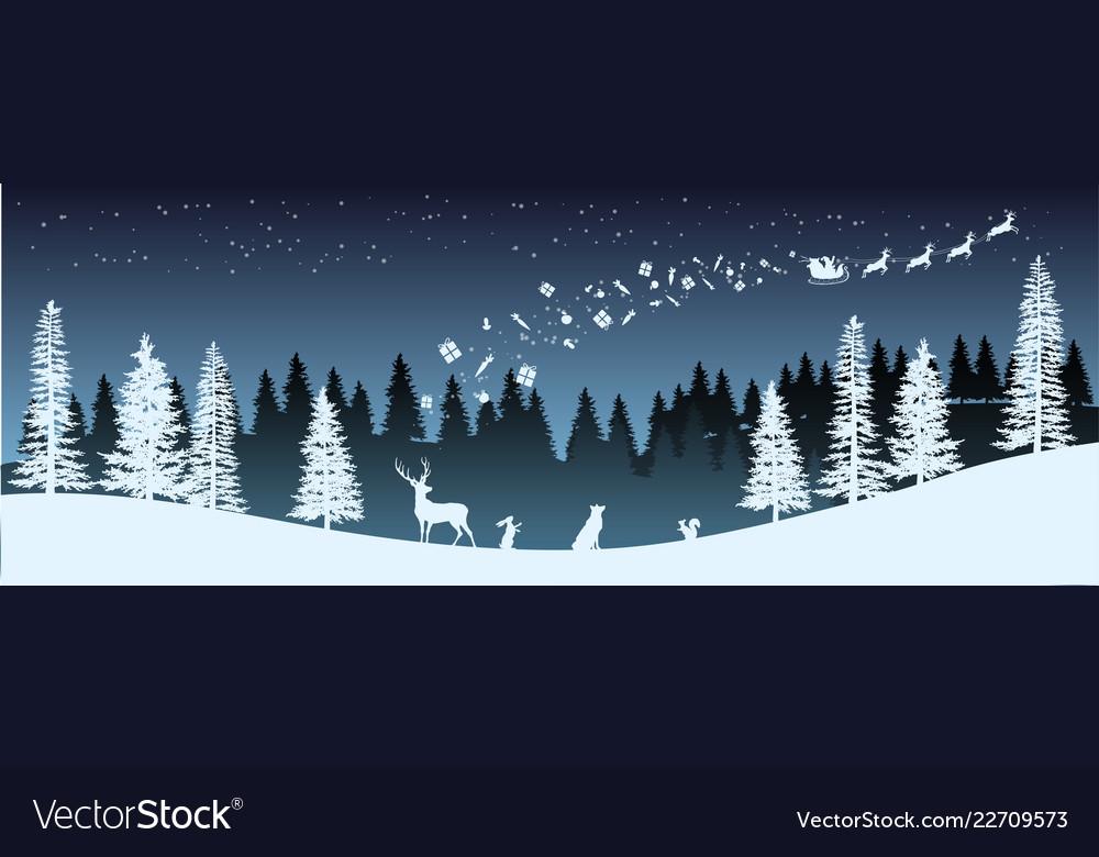 Christmas silhouette panorama of santa claus