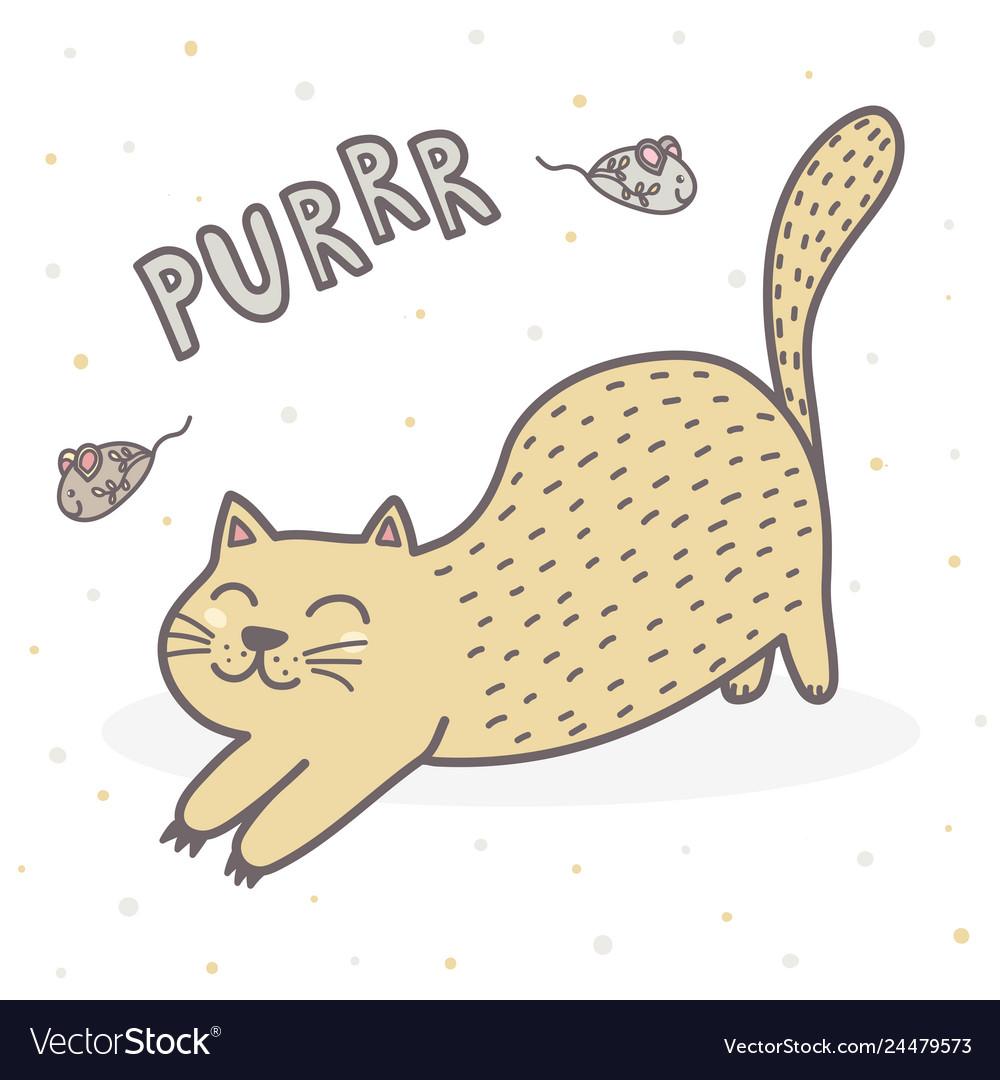 Cute purring cat print funny card for children