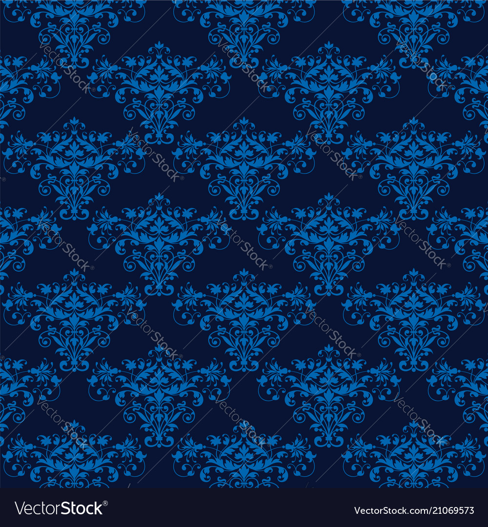 Elegant blue seamless damask background