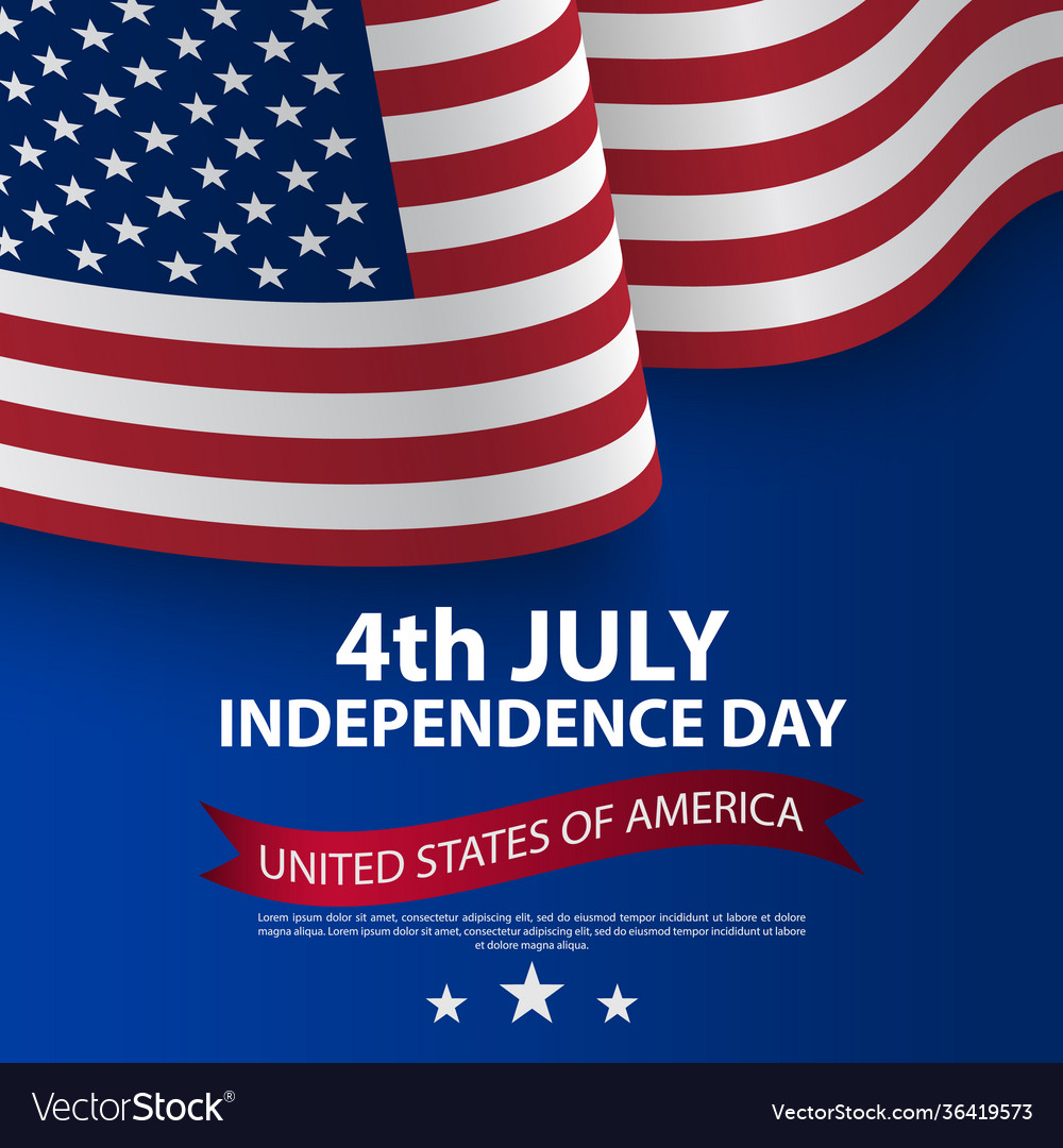 Happy 4th july usa independence day with waving