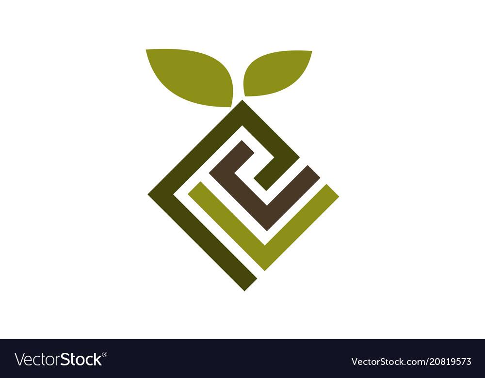 Landscape design logo design template Royalty Free Vector