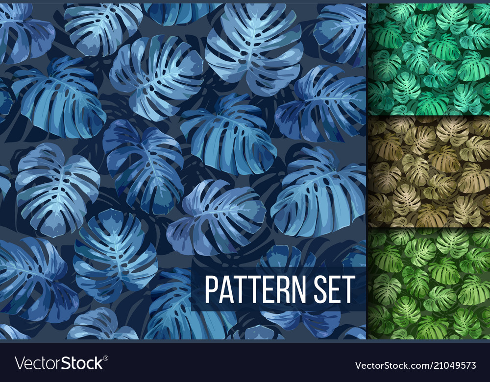 Monstera leaves seamless tropical background set