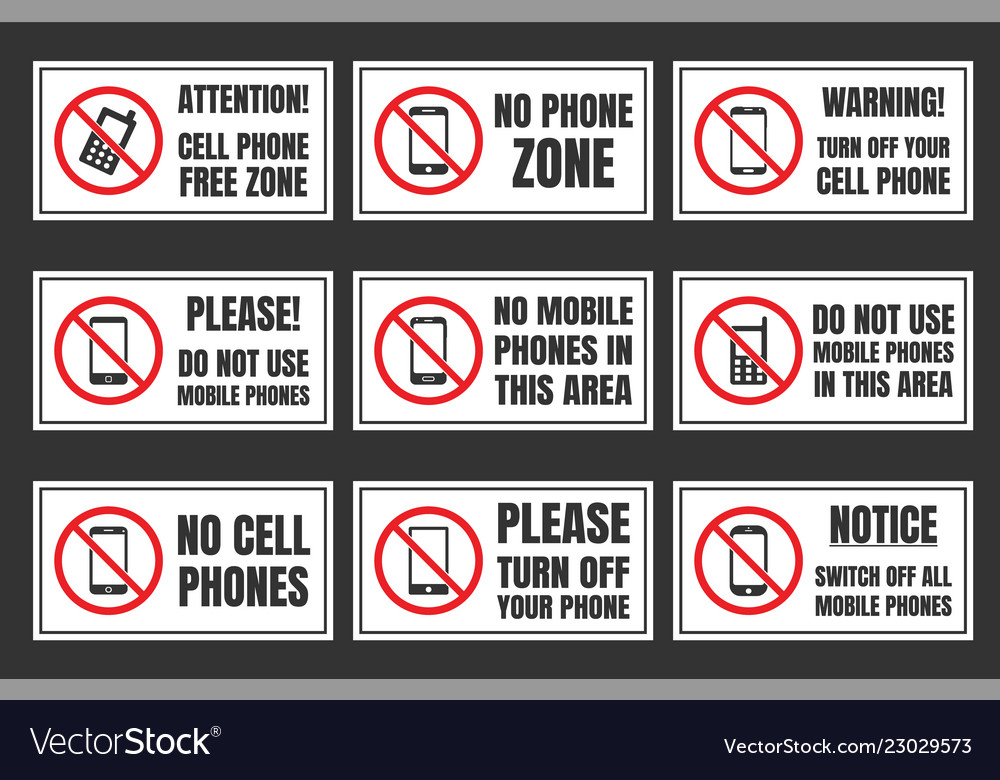 No mobile phone icon set cell phone prohibited