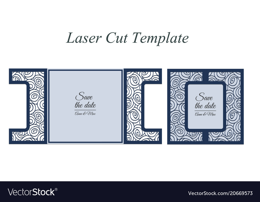 Paper cut out card laser cut pattern for vector image