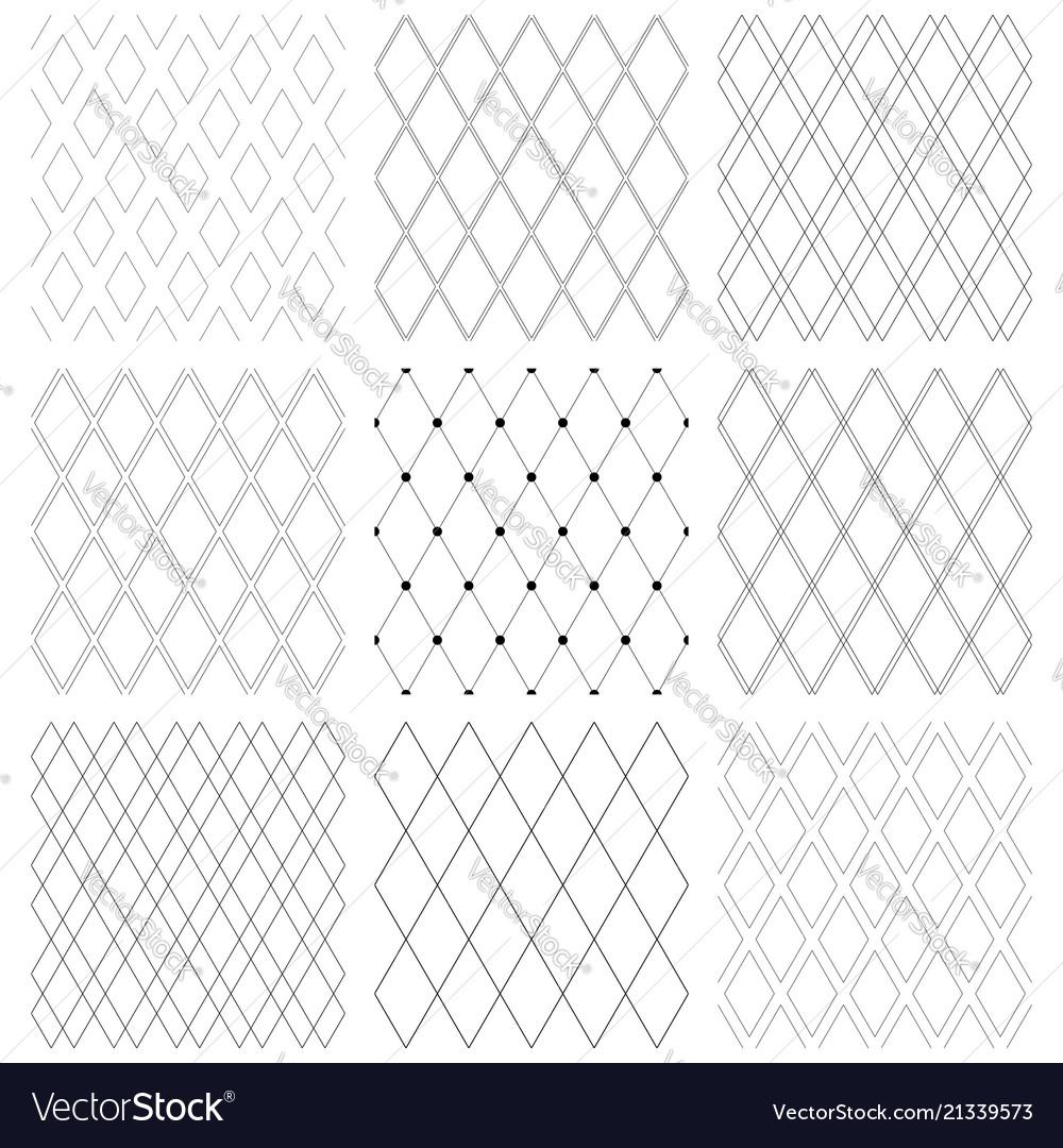 Seamless diamonds patterns set
