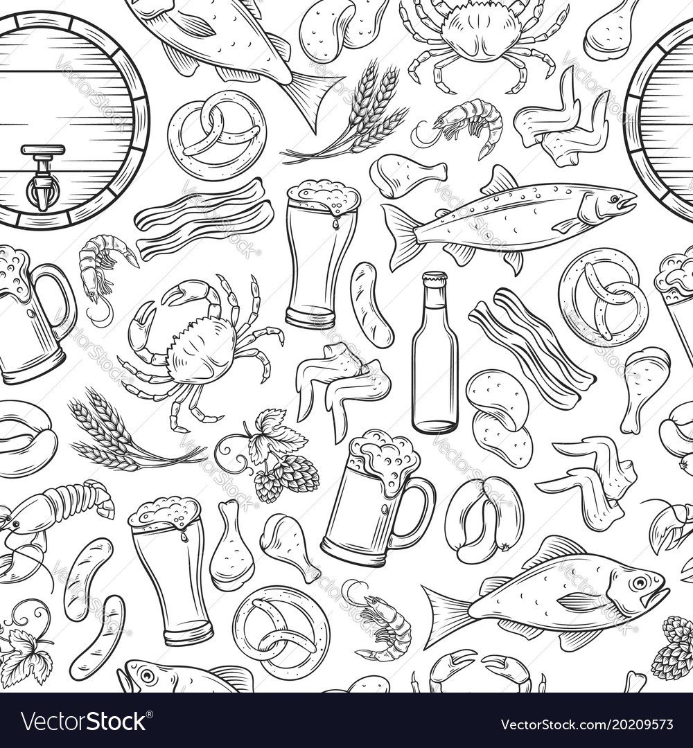 Seamless pattern pub food and beer