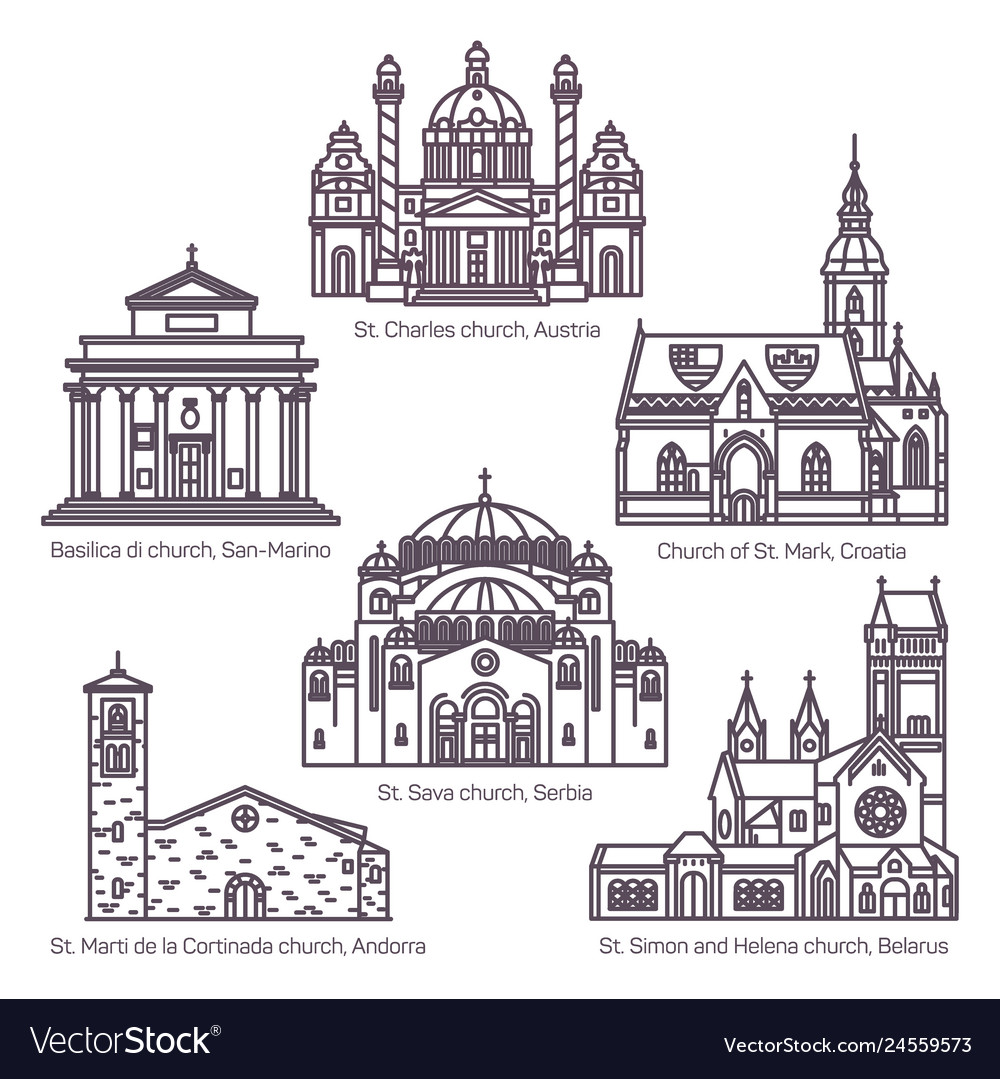 Set of isolated religion churches in thin line