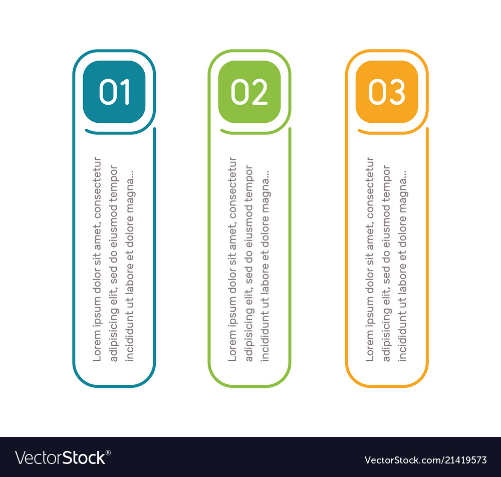 Vertical steps infographic elements outline