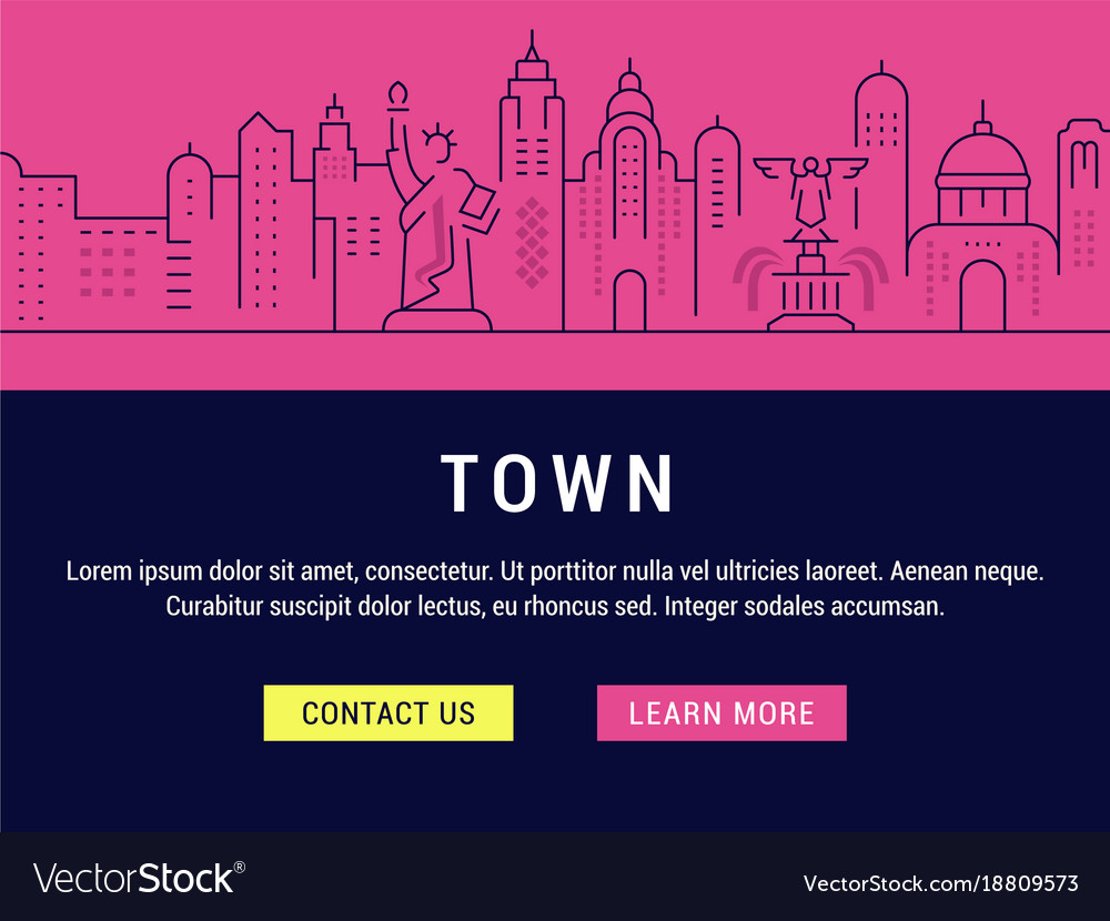 Website banner and landing page town