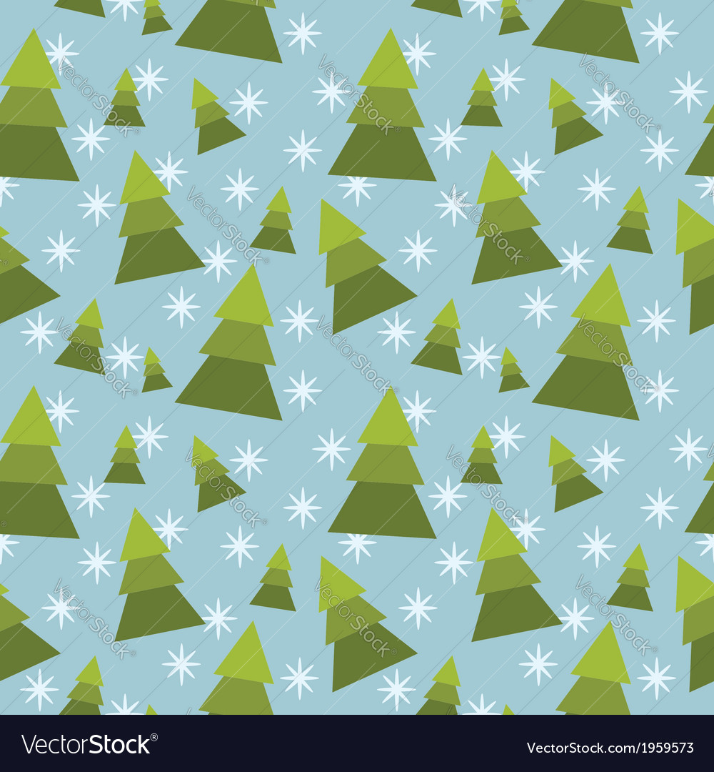 Winter tree seamless pattern