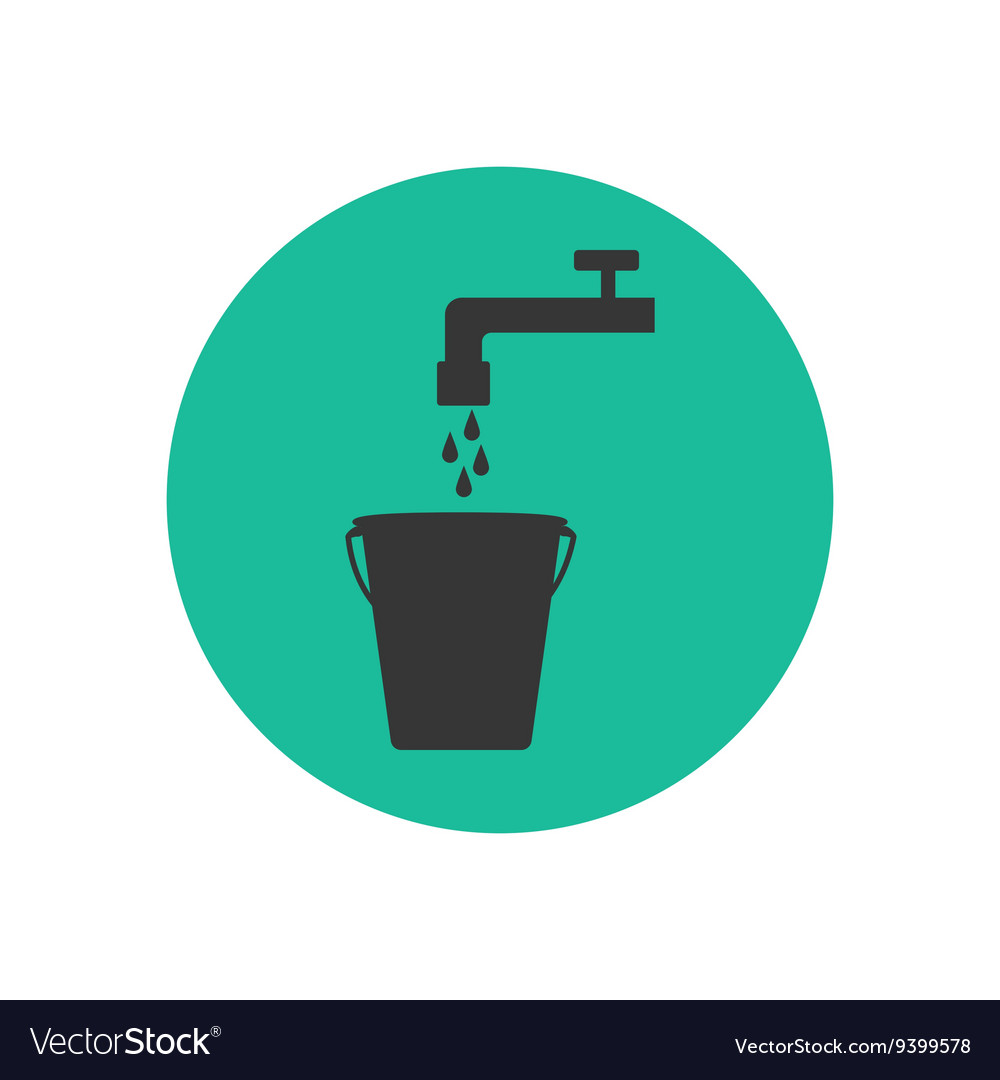 Bucket and water tap silhouette