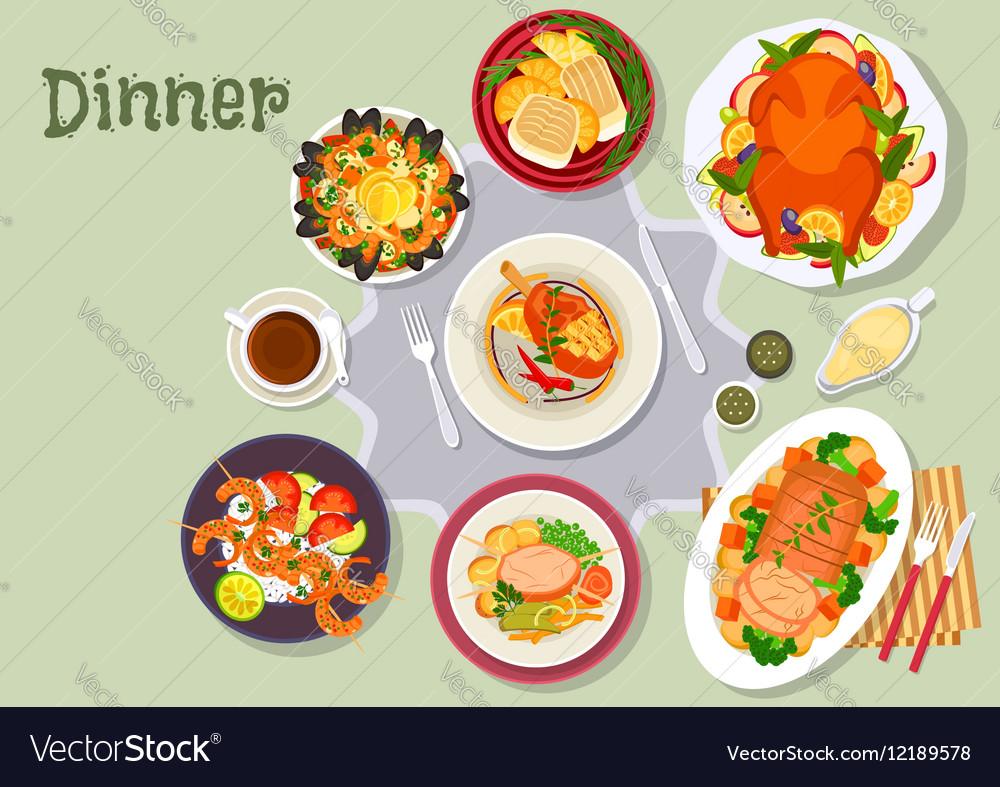 Christmas Dinner Menu.Christmas Dinner Icon For Festive Menu Design