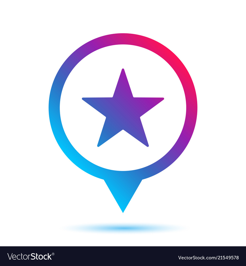 Colorful star sign in circle pin icon