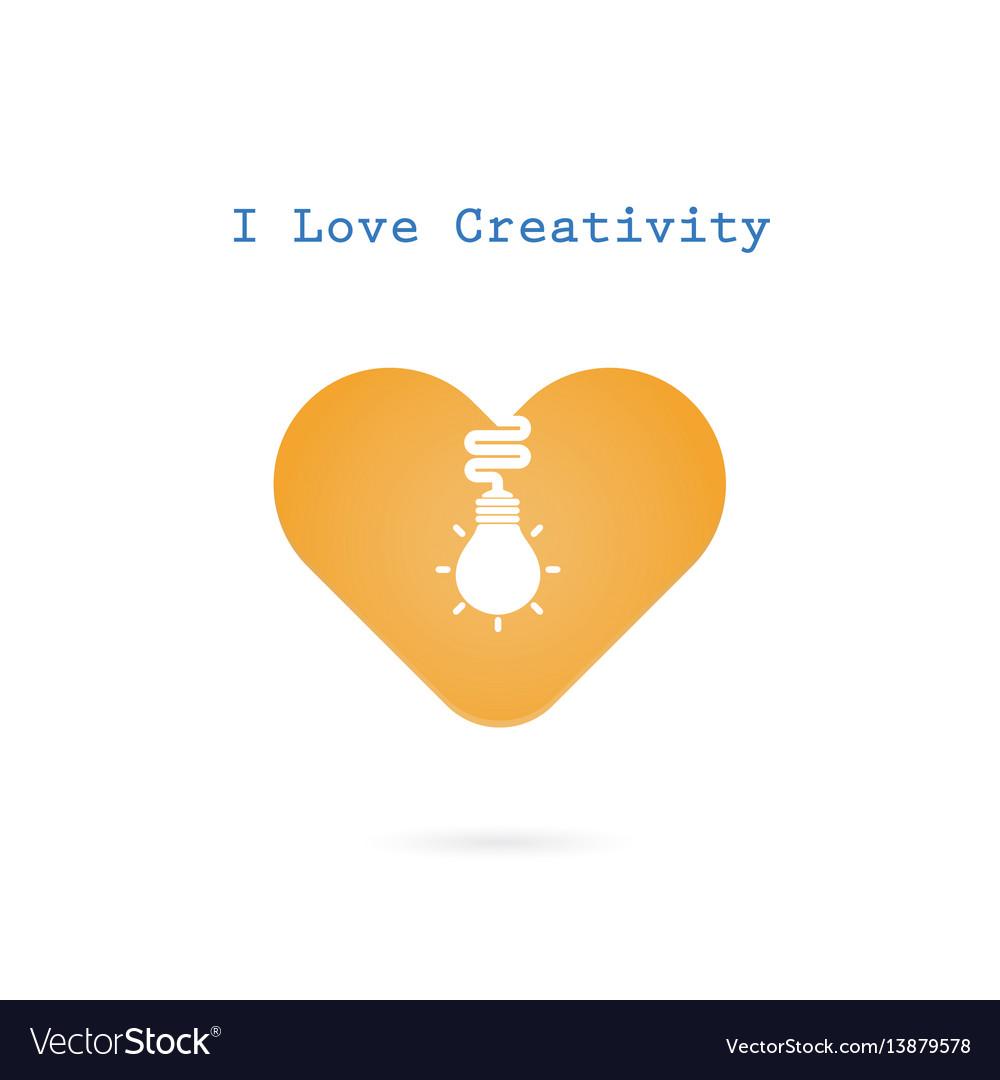 Creative light bulb and heart sign design banner