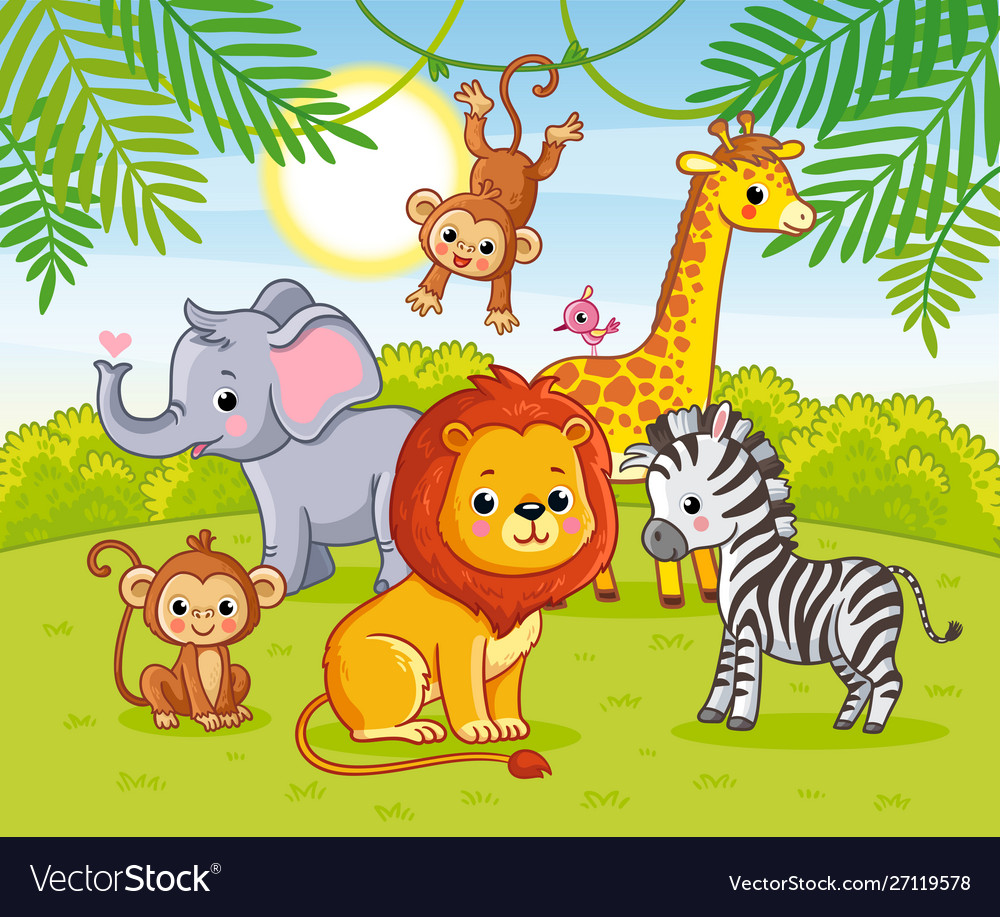 Cute african animals in jungle animals in the
