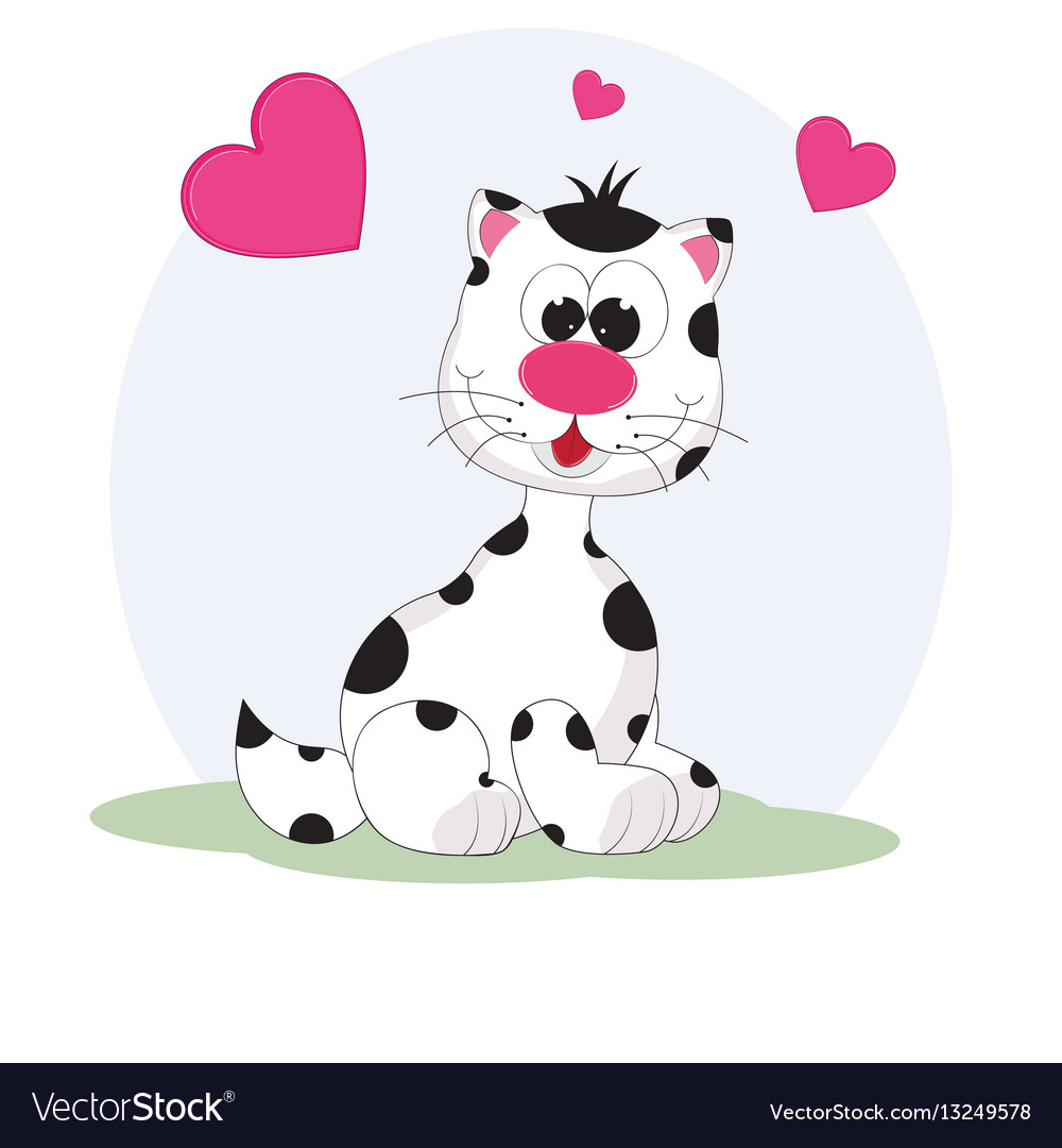 Cute cat and heart vector image