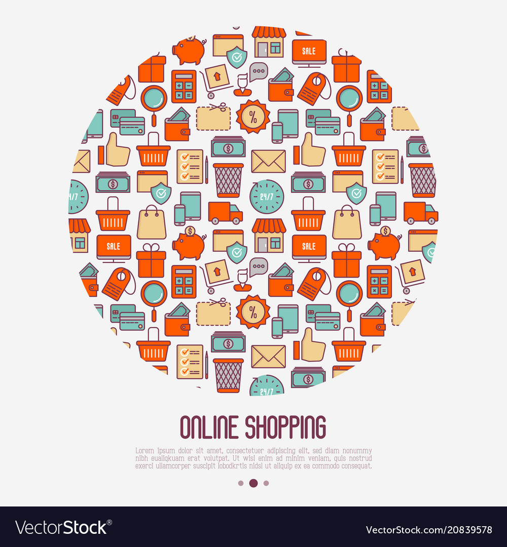 E-commerce shopping concept in circle