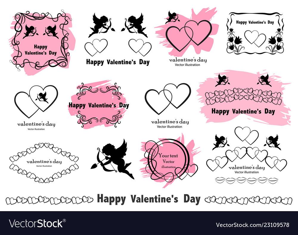 Graphic design elements vintage valentines love