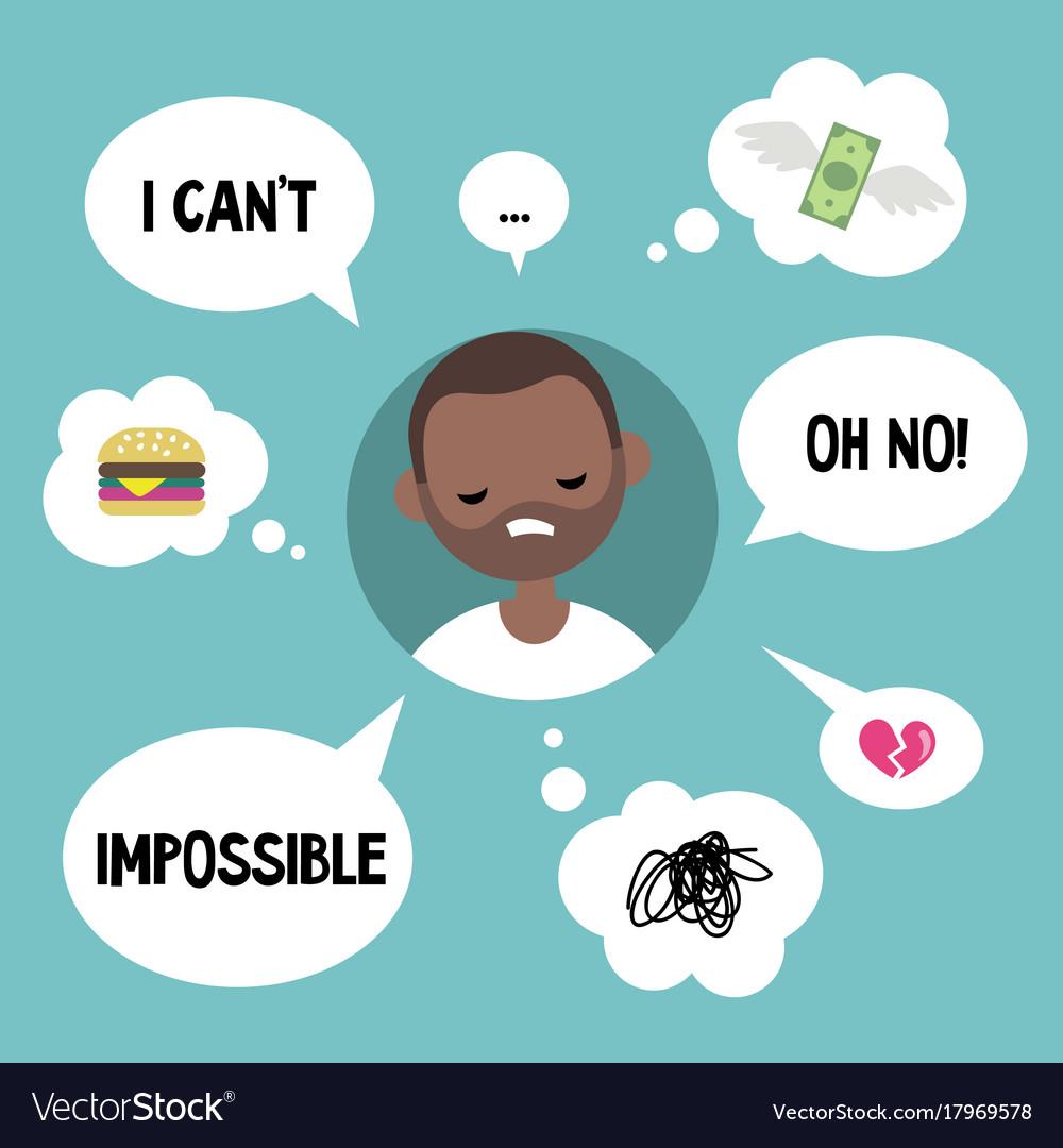 Modern communication concept unhappy black man