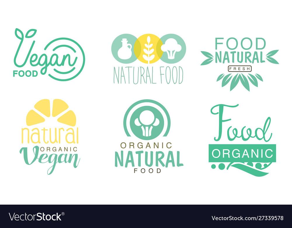Organic natural food logo set fresh vegan food