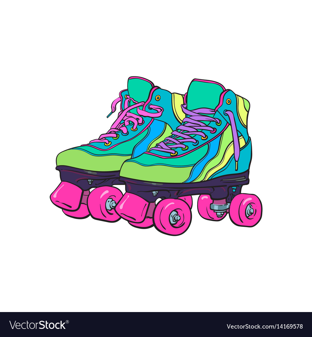 Pair of vintage retro quad roller skates sketch vector image