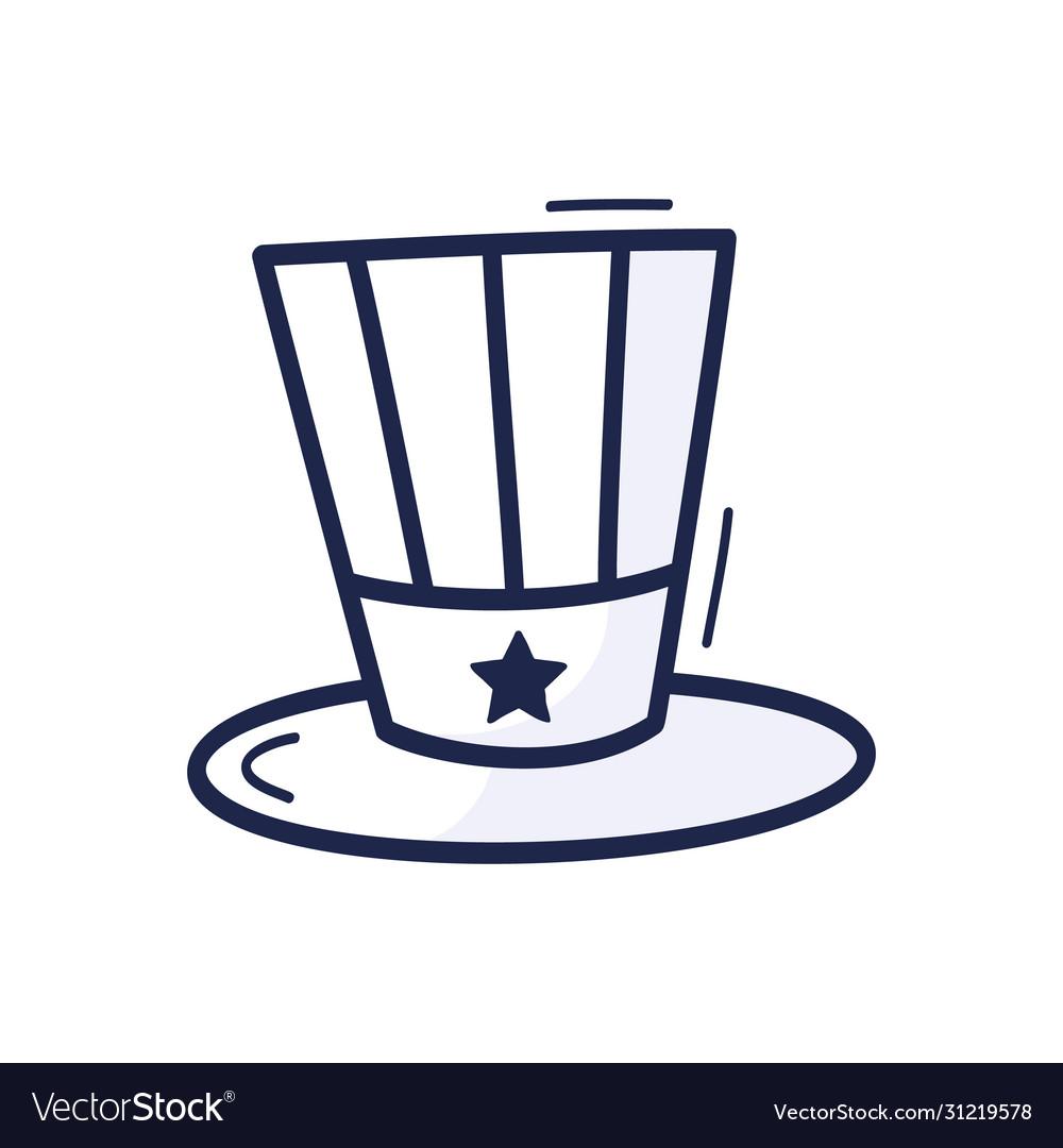 Patriotic american top hat icon drawn hand