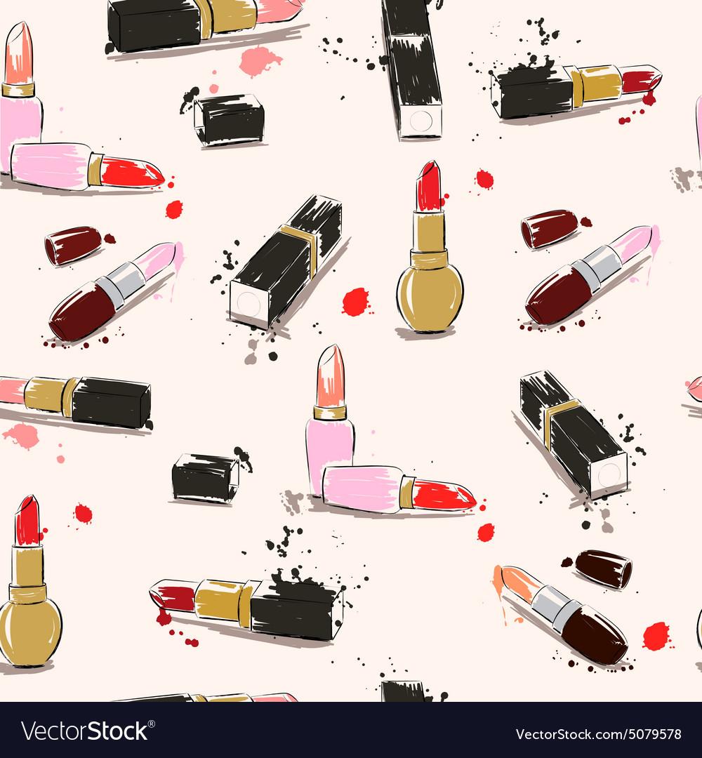 Seamless pattern with lipstick