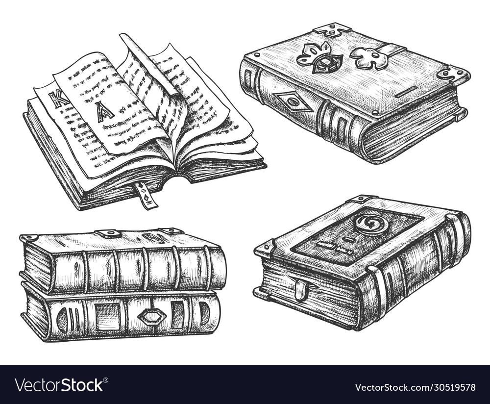 Set isolated vintage books hardcover