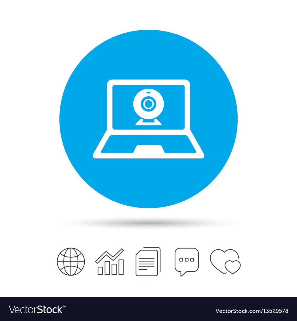 Video chat laptop sign icon webcam talk vector image