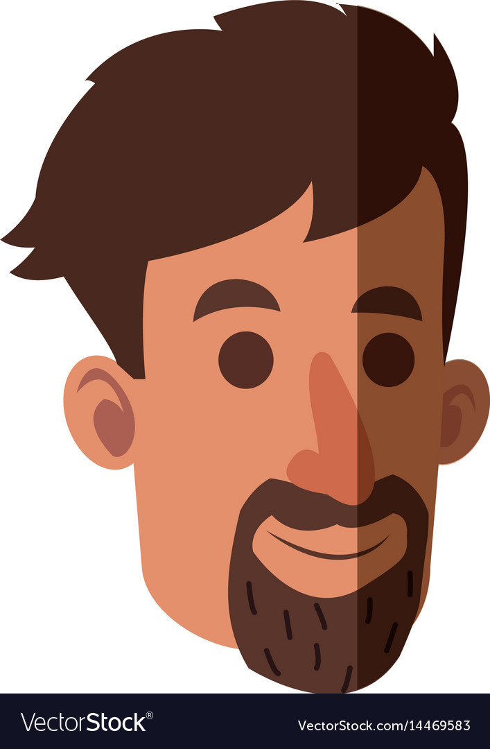 Avatar face man beard adult vector image