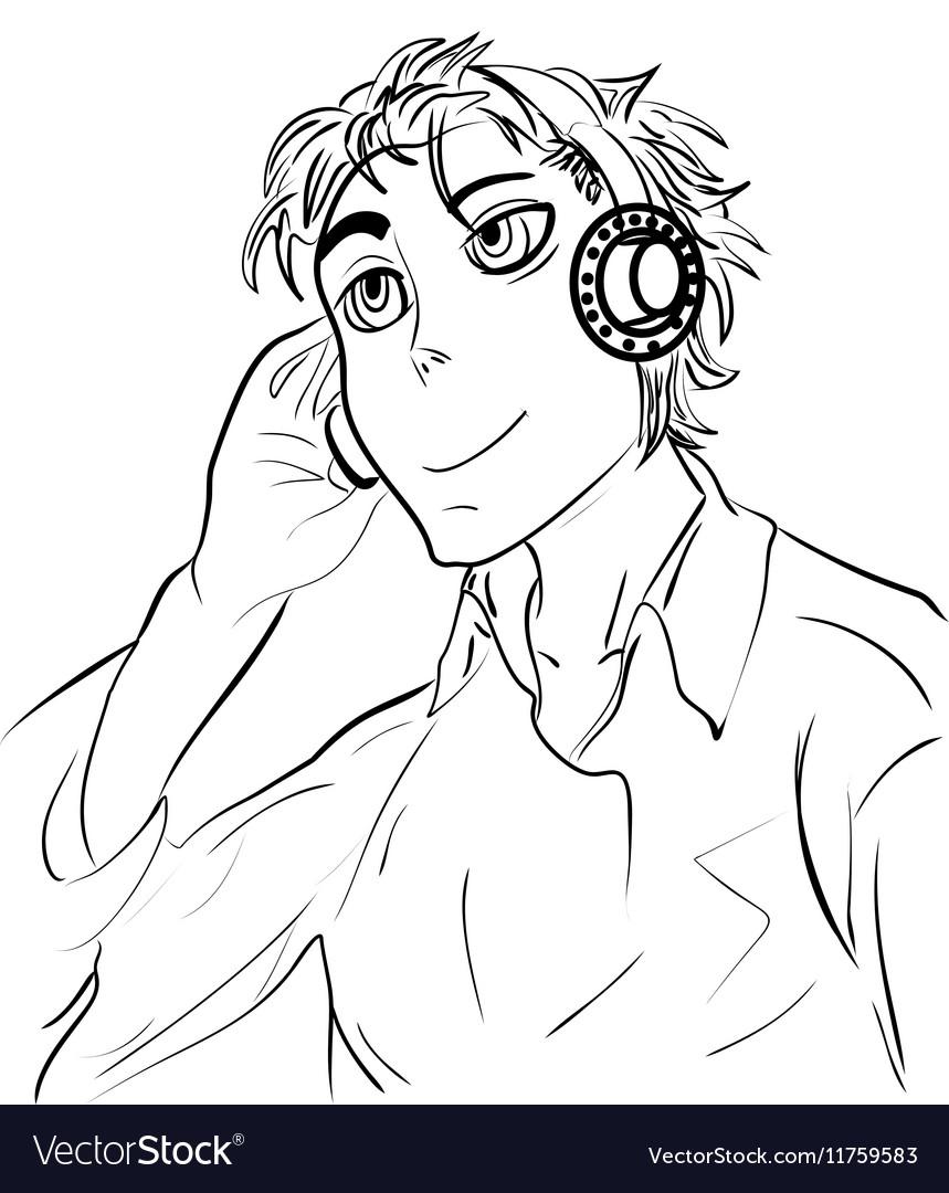 Cartoon guy in headphones sketch