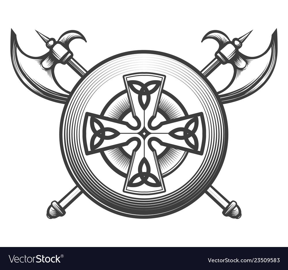 Celtic shield with axes
