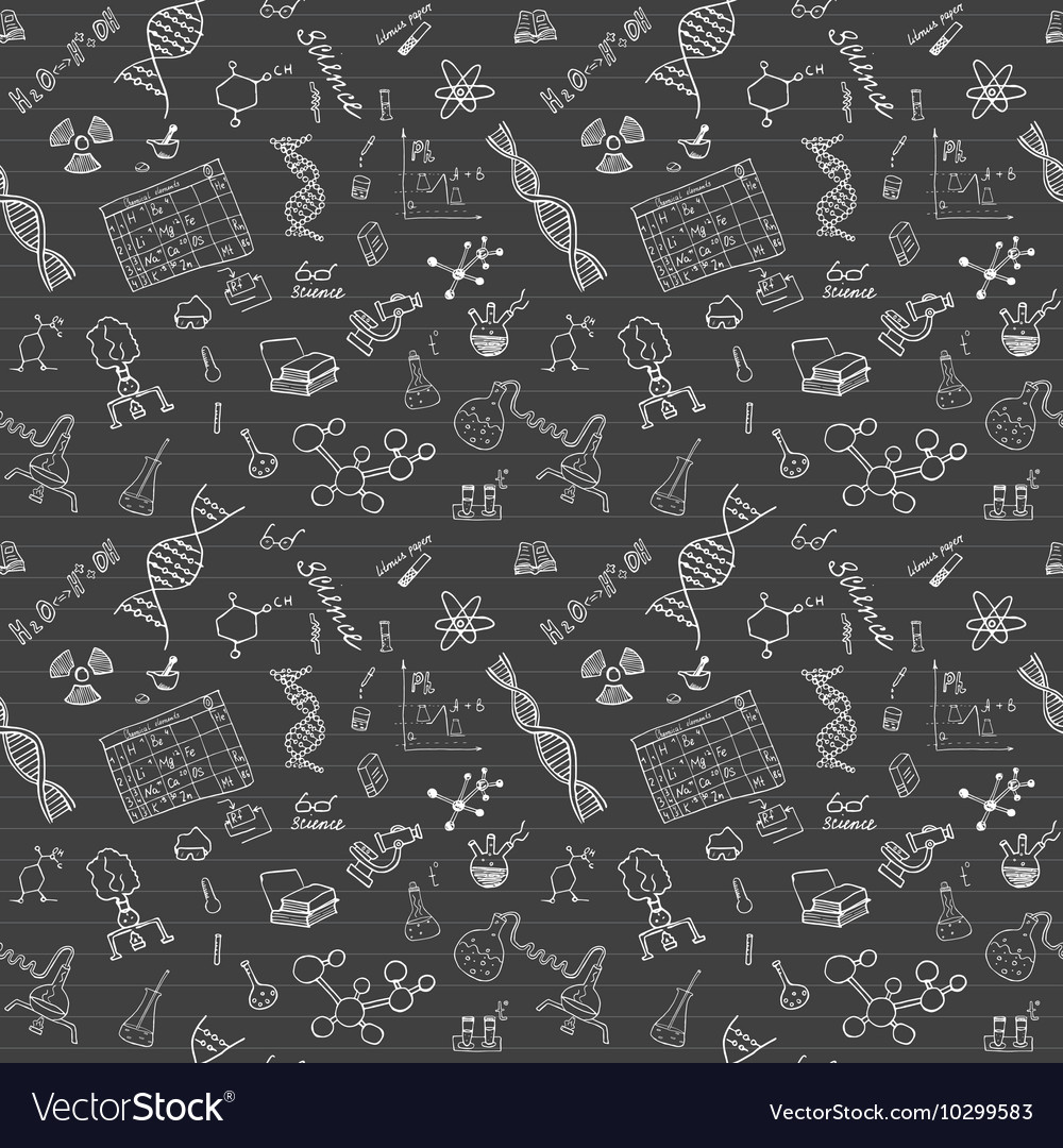 Chemistry and sciense seamless pattern with sketch